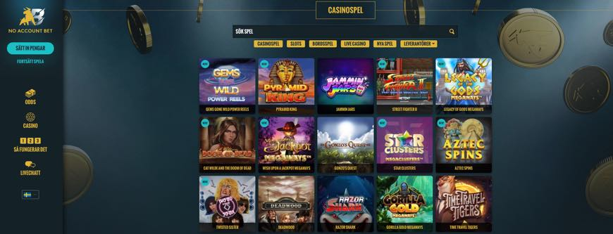 No Account Bet - casinospel